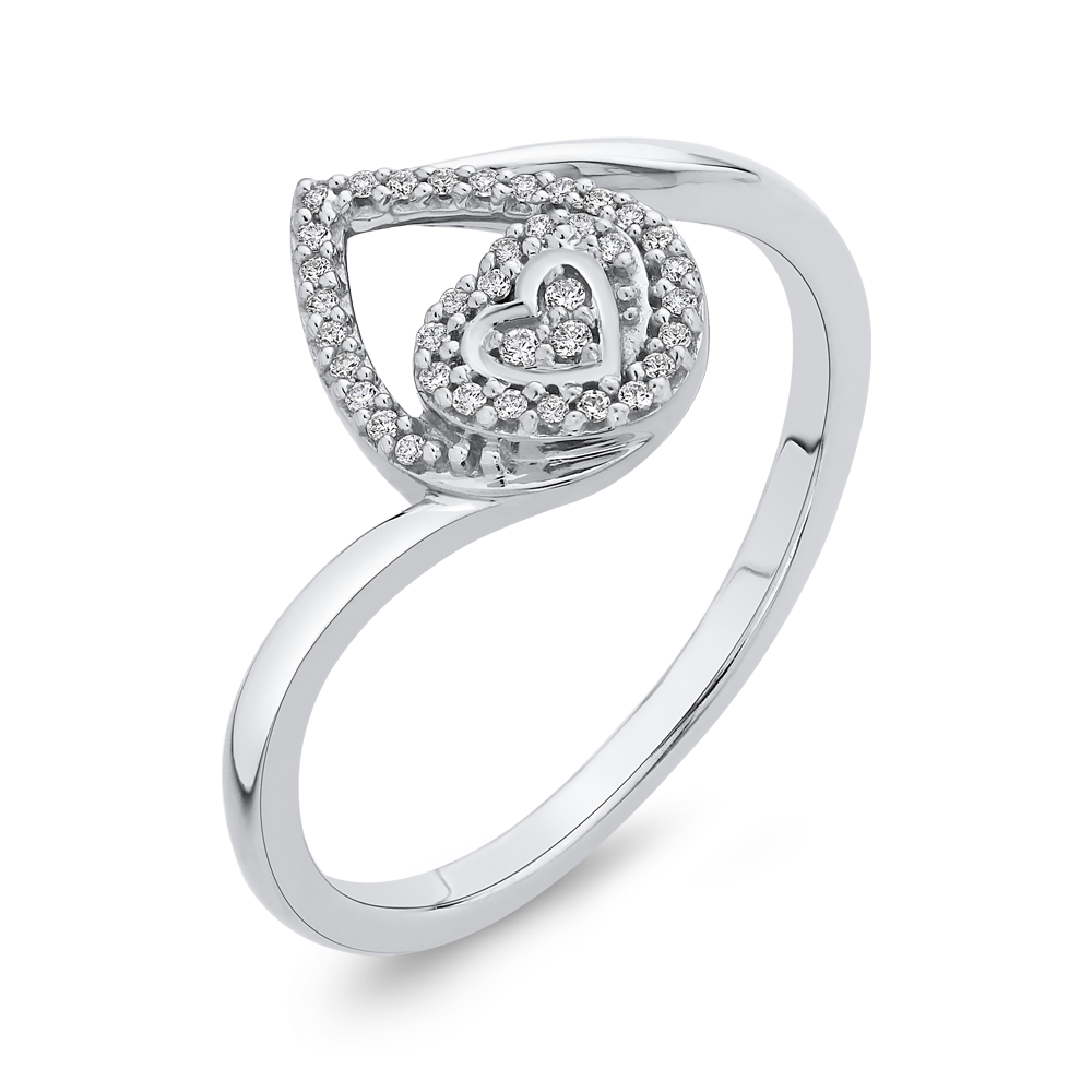 10K White Gold .12 Ct Diamond Fashion Ring