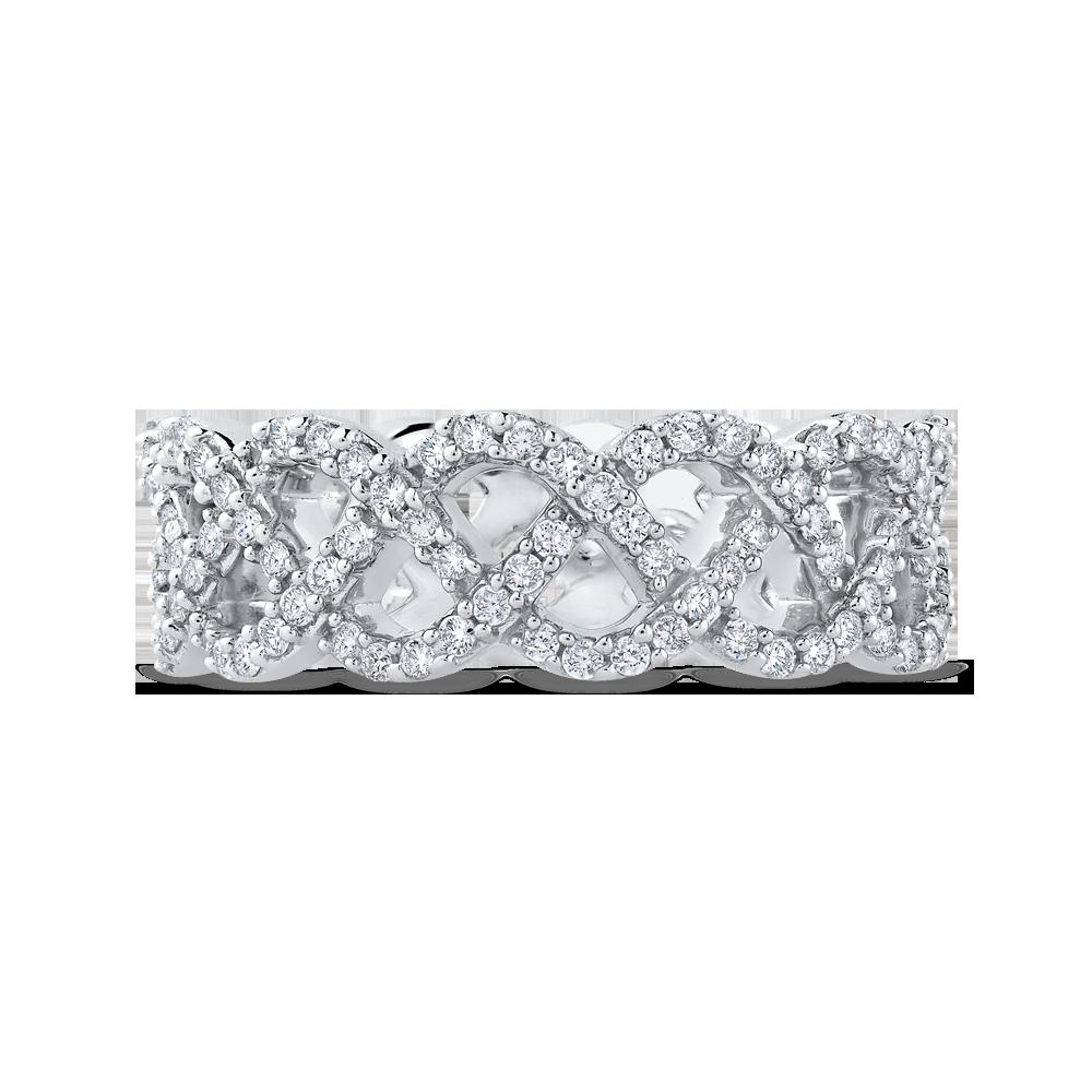 10K White Gold 1.00 ct Diamond Criss Cross Wedding Band Ring