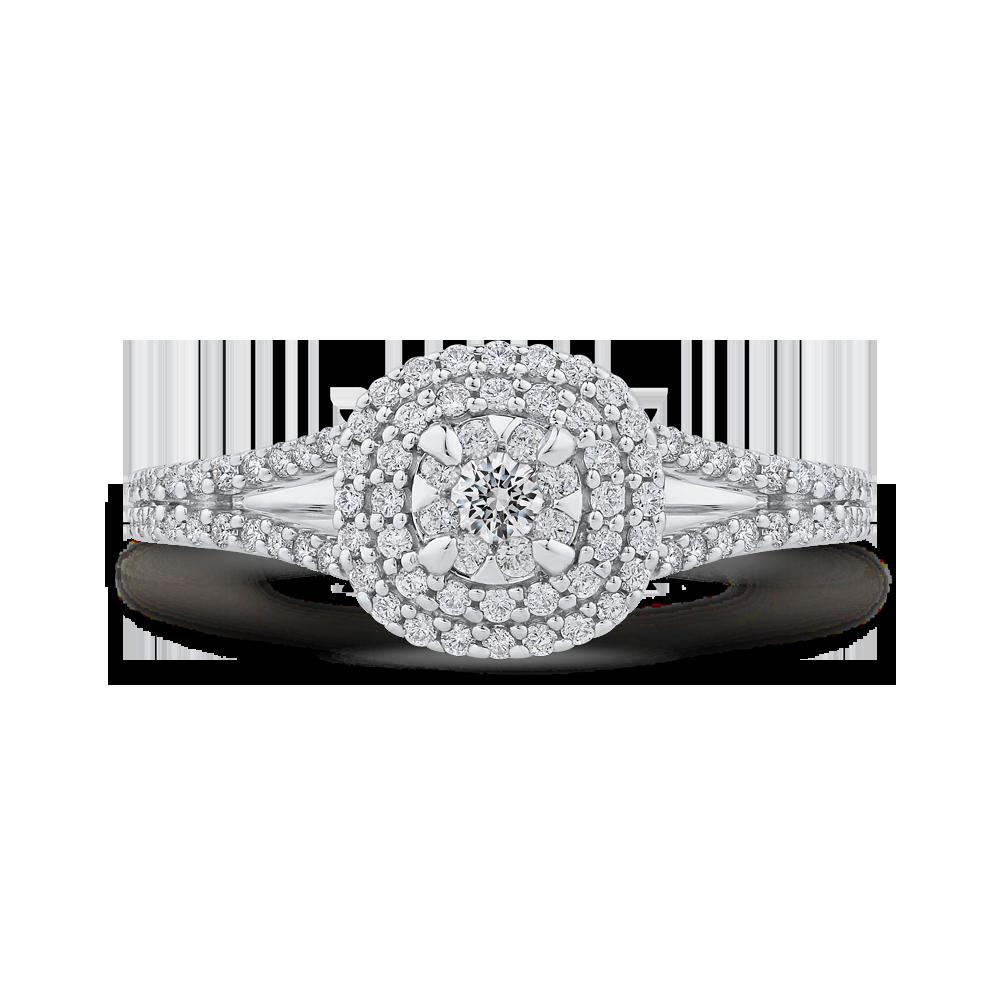 1/2 ct Round Diamond Fashion Ring In 10K White Gold
