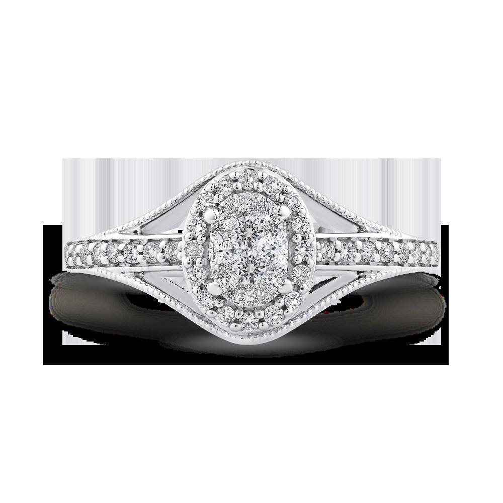 10K White Gold 1/3 ct White Diamond Fashion Ring