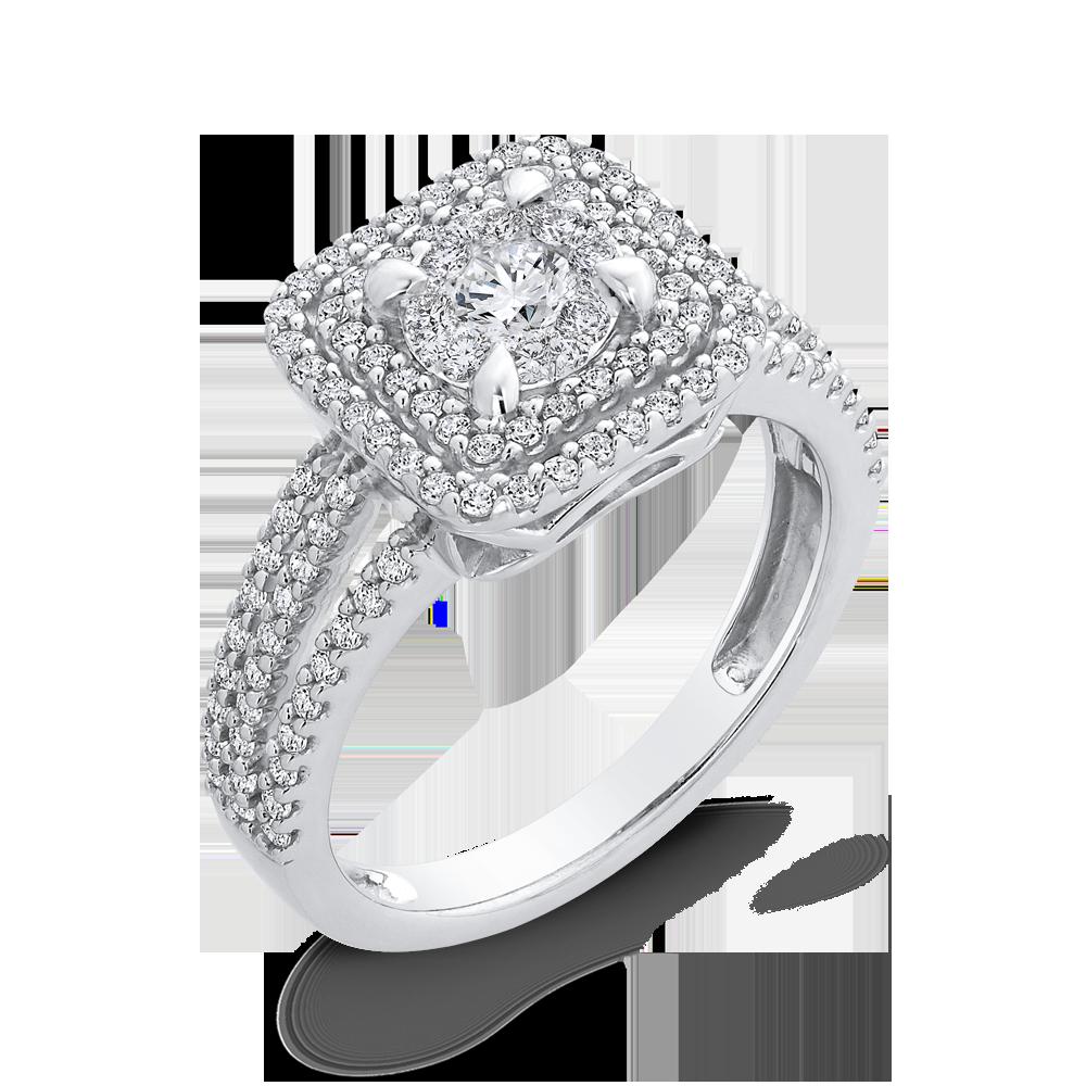 3/4 ct Round White Diamond 10K White Gold Fashion Ring