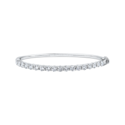 14K White Gold 3.60 ct Round White Diamond Bangle Bracelet