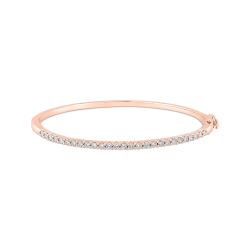 14K Rose Gold 7/8 ct Diamond Bangle Bracelet
