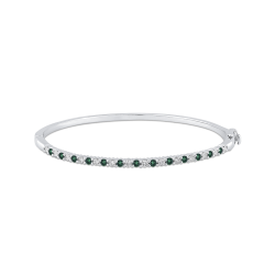 14K White Gold Round 1/2 ct Diamond and Emerald Bangle Bracelet