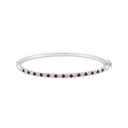 14K White Gold Round 1/2 ct Diamond and Ruby Bangle Bracelet