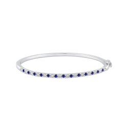 14K White Gold Round 1/2 ct Diamond and Sapphire Bangle Bracelet
