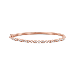 10K Rose Gold 1/2 ct Round White Diamond Bangle Bracelet