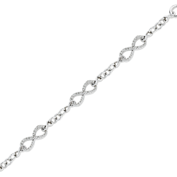 Diamond Infinity Link Bracelet in 10K White Gold (1/4 cttw)