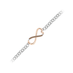 Brown and White Diamond Infinity Tennis Heart Bracelet in Two Tone Sterling Silver (0.07 cttw)