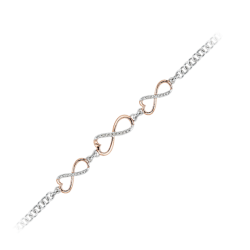 Diamond Infinity Heart Bracelet in 10K Two Tone Gold (0.11 cttw)