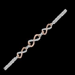 Diamond Infinity Heart Bracelet in 10K Two Tone Gold (0.11 cttw)