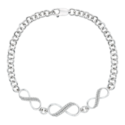 Two Row Diamond Infinity Bracelet in Sterling Silver (1/5 cttw)