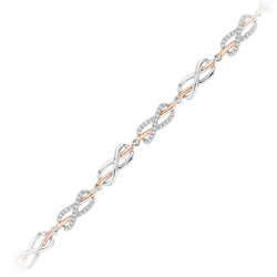 Infinity Diamond Tennis Bracelet in 10K Two Tone Gold (1/4 cttw)