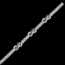 Black and White Diamond Infinity Tennis Bracelet in 10K White Gold (1/4 cttw)