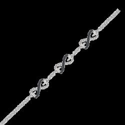 Black and White Diamond Infinity Tennis Heart Bracelet in 10K White Gold (1/4 cttw)