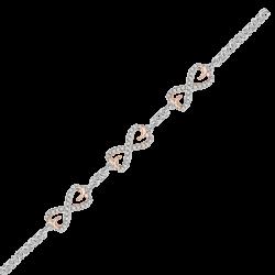 Infinity Diamond Heart Tennis Bracelet in 10K Two Tone Gold (1/4 cttw)