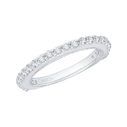 18K White Gold 5/8 Ct Diamond Carizza  Wedding Band