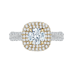 18K Two-Tone Gold 1 3/4 Ct Diamond Carizza Semi Mount Engagement Ring to fit Round Center