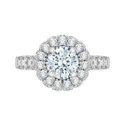 18K White Gold Round Diamond Halo Eng...