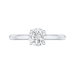 18K White Gold Round Cut Diamond Solitaire Engagement Ring (Semi-Mount)