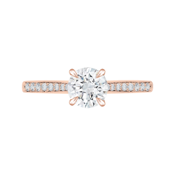18K Rose Gold Round Cut Diamond Solitaire with Accents Engagement Ring
