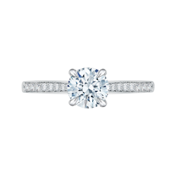 18K White Gold Round Diamond Solitaire with Accents Engagement Ring