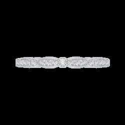 14K White Gold Round Diamond Vintage Wedding Band