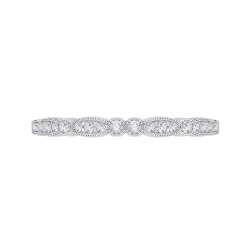 14K White Gold Round Diamond Vintage Wedding Band