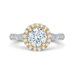 14K Two-Tone Gold Round Diamond Halo Vintage Engagement Ring (Semi-Mount)