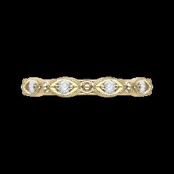 14K Yellow Gold Round Diamond Eternity Wedding Band