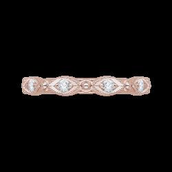 14K Rose Gold Round Diamond Eternity Wedding Band