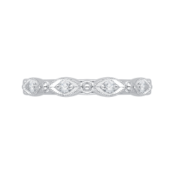 14K White Gold Round Diamond Eternity Wedding Band