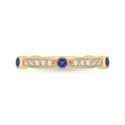 14K Yellow Gold Round Diamond Wedding Band with Sapphire