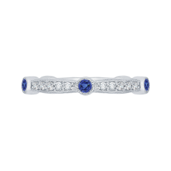 14K White Gold Round Diamond Wedding Band with Sapphire