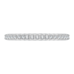 14K White Gold Half-Eternity Diamond Wedding Band with Euro Shank