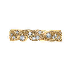 18K Yellow Gold Round Diamond Leaf Design Wedding Band