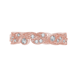 18K Rose Gold Round Diamond Leaf Design Wedding Band