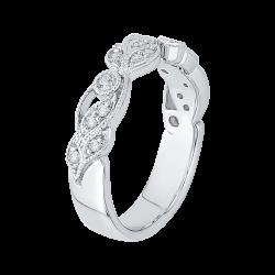 18K White Gold Diamond Leaf Design Wedding Band