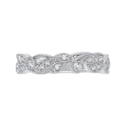 14K White Gold Diamond Leaf Design Wedding Band