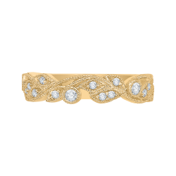 18K Yellow Gold Leaf Design Round Diamond Wedding Band