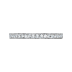 18K White Gold Round Diamond Eternity Wedding Band
