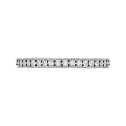14K White Gold with Black Rhodium Tips Diamond Eternity Wedding Band