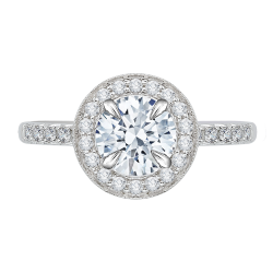 18K White Gold 1/2 Ct Diamond Carizza Semi Mount Engagement Ring to fit Round Center