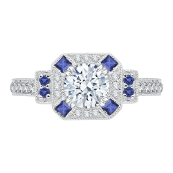 18K Two-Tone Gold Round Diamond and Sapphire Engagement Ring