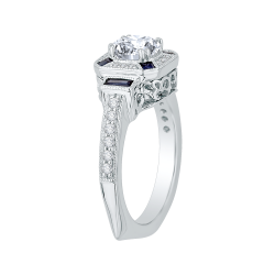 18K White Gold 1/5 Ct Diamond and 1/3 Ct Saphhire Carizza Semi Mount Engagement Ring to fit Round Center