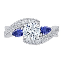 18K White Gold Round Diamond and Sapphire Engagement Ring