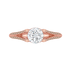 14K Rose Gold Brown Diamond Engagement Ring with Split Shank (Semi-Mount)