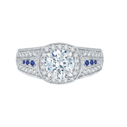 18K White Gold 5/8 Ct Diamond and .04 ct. Saphhire Carizza Semi Mount Engagement Ring to fit Round Center