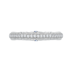 14K White Gold Euro Shank Round Diamond Wedding Band
