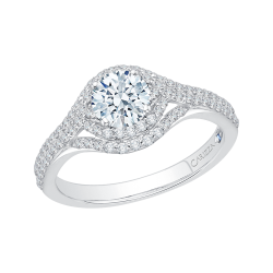 18K White Gold  2/3 Ct Diamond Carizza Semi Mount Engagement Ring to fit Round Center